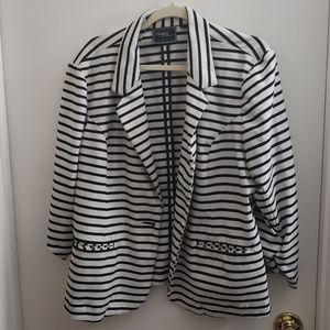 Black/White Striped Blazer - XXL